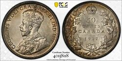 Canada, 1917 George V Fifty Cents, 50 Cents. Pcgs Au 58. 752,213 Mintage.