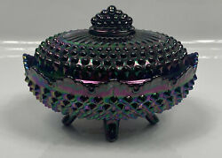Beautiful Fenton 70's Amethyst Carnival Glass Hobnail Footed Candy Dish Read ⬇️
