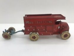 Antique Hubley 10 Cast Iron Red Bell Telephone Truck With Pole Trailer Toy
