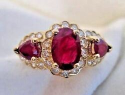 Antique Large 2.53ct Diamond And Ruby 14kt Yellow Gold Cluster Cocktail Ring 1978