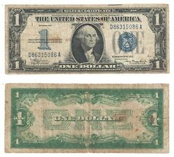 1934 1 Silver Certificate Funny Back D-a Block Fr 1606 Good