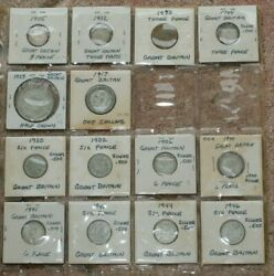 Great Britain Silver Vintage Coin Bonanza 14 Coins From 1905 To 1946