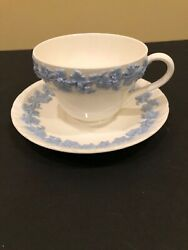 Wedgwood Queensware Embossed Lavender On Cream Cup And Saucer Set Shell Edge