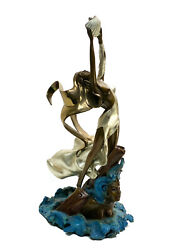 Angelo Basso Italian 20th Century Patinated Bronze Sculpture- Woman With Shell