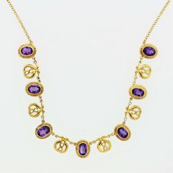 Mid-century Russian Amethyst Necklace 14k Yellow Gold