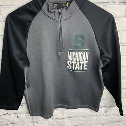 Under Armour Loose Boys Michigan State Spartans 1/4 Zip Pullover Youth Size Med