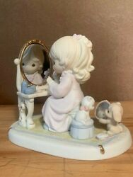 God's Love Is Reflected In You Precious Moments Figurine Girl With Vanity Mirror