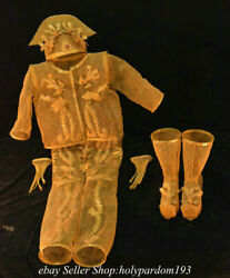 61.6 Old Chinese Copper 24k Gold Gilt Phoenix Queen Clothing Dress Statue Set