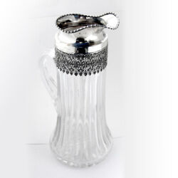 Large Water Pitcher Cut Glass Sterling Silver Goodnow Jenks Boston