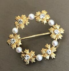 Vintage 9ct Yellow Gold Diamond Pearl Broach 0.60ct Bouquet Flowers Pendant