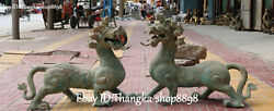 25 Old China Bronze Ware Dragon Dragons Guardian Brave Troops Beast Statue Pair
