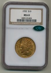 1932 Ngc Ms63 10 Gold Indian Cac