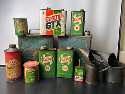 Large Collection Of Vintage Oil Grease And Petrol Cans - Castrol Esso Etc.