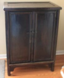 Antique Chinese Side Cabinet Oxblood Lacquer Elm Shanxi Mid 1800s