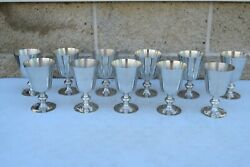 Set Of 11 Pewter Communion Cups, 'woodbury Pewter'. 5 3/8 Ht Cu831 Chalice Co
