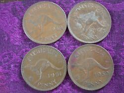 1943 1948 1951 And 1952 Australia - Australian One Large Penny - 4 Coin Lot