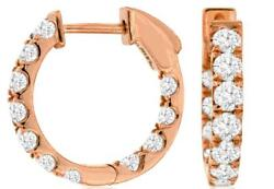 Estate 1.5ct Diamond 14k Rose Gold 3d Classic Inside Out Huggie Hanging Earrings