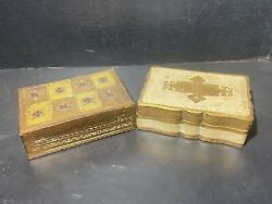 Vintage Florentine / Italian Hinged Jewelry Trinket Boxes Made In Italy