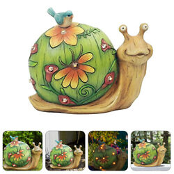 1pc Solar-powered Resin Snail Lamp Lawn Outdoor Chic Atmosphere Light