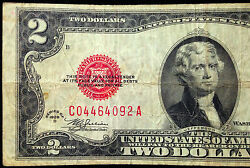 1928-d Mule 2 Two Dollar Bill Us Currency 1928d C-a Series United States Note