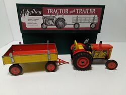 Vintage Schylling Tractor And Trailer Set New In Box Wind Up Tin Toy Complete