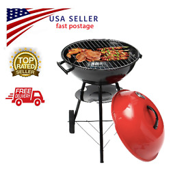 Portable Red Kettle Trolley Bbq Grill Charcol Barbecue Wood Barbeque Picnic Bbq