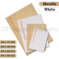 Please Do Not Bend Hard Card Board Backed Envelopes Manilla Brown White C6 A5 A4