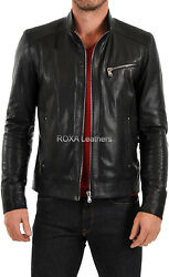 Roxa Party Wear Menand039s Black Authentic Biker Lambskin Soft Natural Leather Jacket