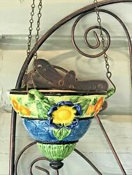 Japanese Art Pottery Hanging Planter Hand Painted Makers Mark C1921-41