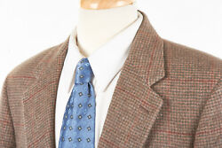 Vtg Brooks Brothers Sport Coat 42 R In Taupe Brown Houndstooth Plaid Camel Hair