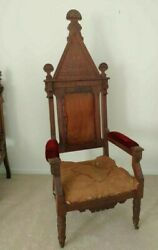 Gothic Arch Steeple-back Church Bishops Chair Throne Victorian Antique 1890and039s