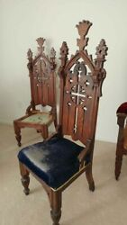 Victorian Antique 1890's Chairs Set Of Two Gothic Church Steeple Back Pair