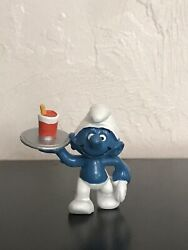 Smurfs 20162 Waiter Smurf Rare Silver Tray And Red Cup Vintage Figure Peyo 1982