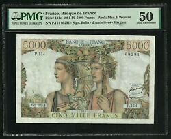 France 5000 Francs Terre And Mer 2-10-1952 Pmg About Unc 50