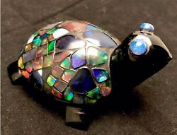 3.7andrdquo Long 2andrdquo High Carved Obsidian Fire Opal Inlay Turtle Fetish / Effigy