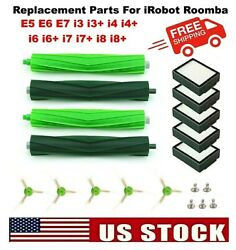 For Irobot Roomba Replacement Parts Side, Roller Brushes, Filters E5 E6 E7 I3 +