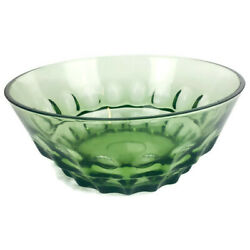 Depression Glass Olive Or Forest Green Large Thumb Print Design Footed Bowl
