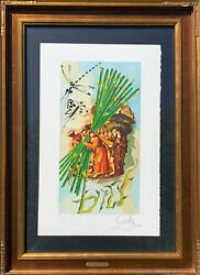 Salvador Dali Ten Of Staves Lithograph On Paper H/s And Numbered Framed Coa