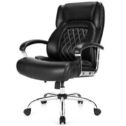 Costway 500lbs High Back Big And Tall Office Chair Adjustable Leather Chair Black