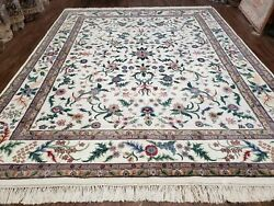 8x10 Handmade Floral Wool Rug Veg Dyes Indian Oriental Carpet Beige Hand-knotted