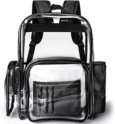 Clear Backpack Heavy Duty PVC Transparent Clear Bag for Stadium School Black $25.99