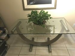 Romeo Rega Mid Century Modern Chrome Brass And Glass Dinning And Side Table 2 Total