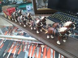 Vintage Budweiser Champion Clydesdale Team, 8-horse Hitch W/ Wagon Rare