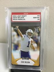 Rare Gold Parallel 🌟2021 Zach Wilson Leaf Draft Xrc 10 Rookie Rc Cougars Card