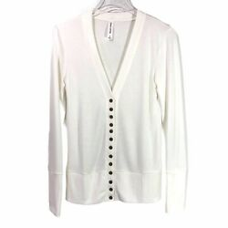 Zenana Womens Top S Ivory Off White Antique Gold Snap Front Long Sleeve Cardigan