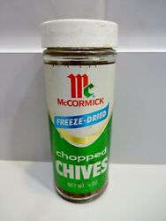 Vtg Mccormick Chopped Chives Bottle Freeze-dried Spice Jar 1/8 Oz 4 1/2 Tall