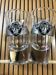 Oakland Raiders Collectors Edition Two Shot Glass W/pewter Emblem