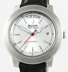 Vintage Bulova Super Seville Automatic Day Date Stainless Steel Mens Wrist Watch