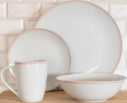 10 Strawberry Street 16-piece Pink Rim Coupe Dinnerware Set Service For 4 New