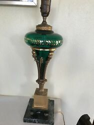 Antique Glass Lamp With Bronze And Green Marble Base 18